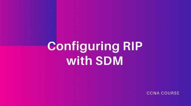 conifiguring RIP with sdm