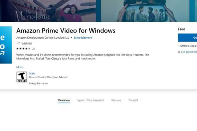 Amazon Prime Video desktop app for Windows 10 can be downloaded from Microsoft Store