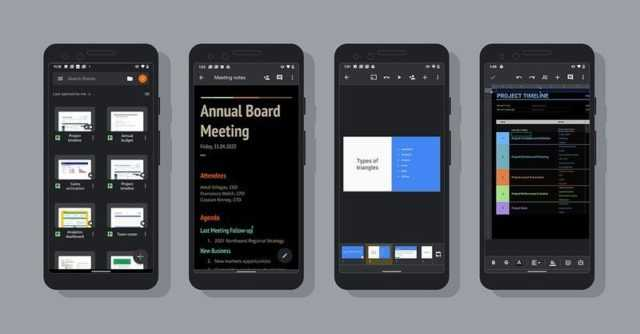 Dark mode for google docs, sheets and slides