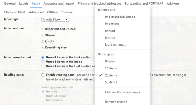 How to change Gmail Inbox Layout