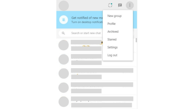 whatsapp web logout menu in browswer