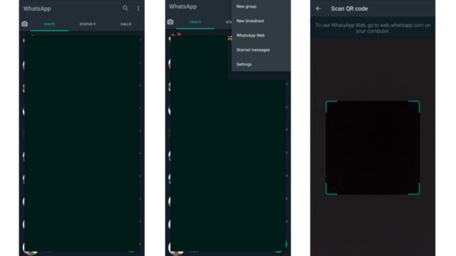 whatsapp web menu in mobile app